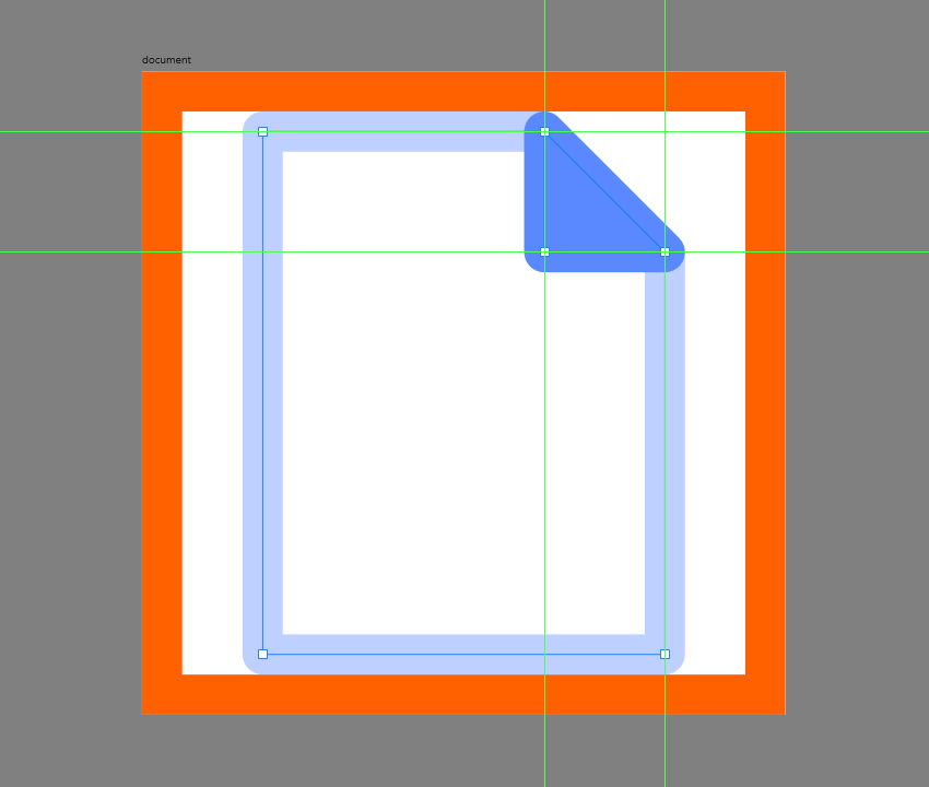 adding the fill shape to the corner of the document