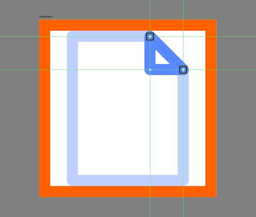 adjusting the shape of the corner of the document