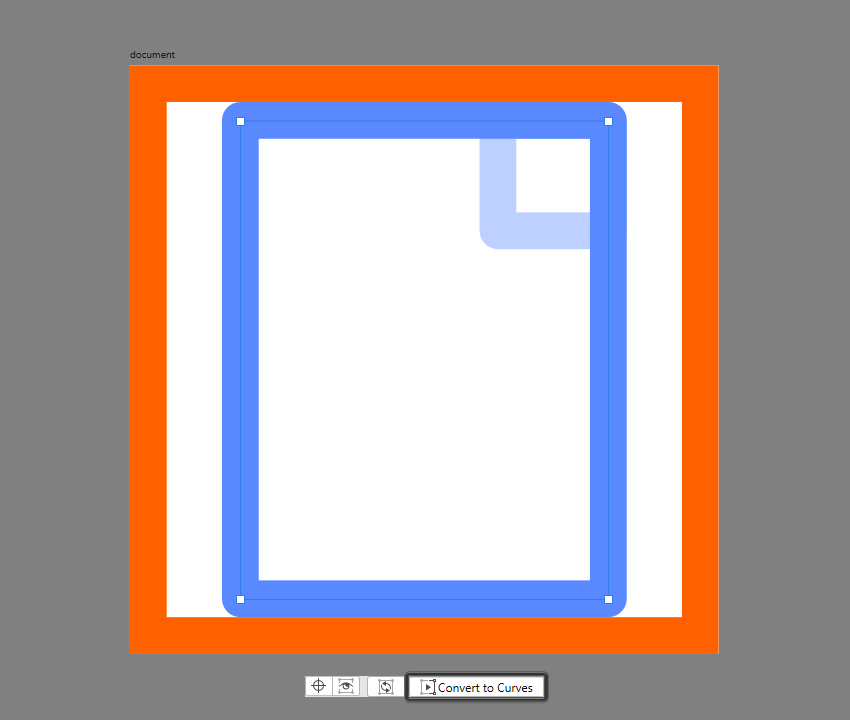 converting the main shape of the document to curves