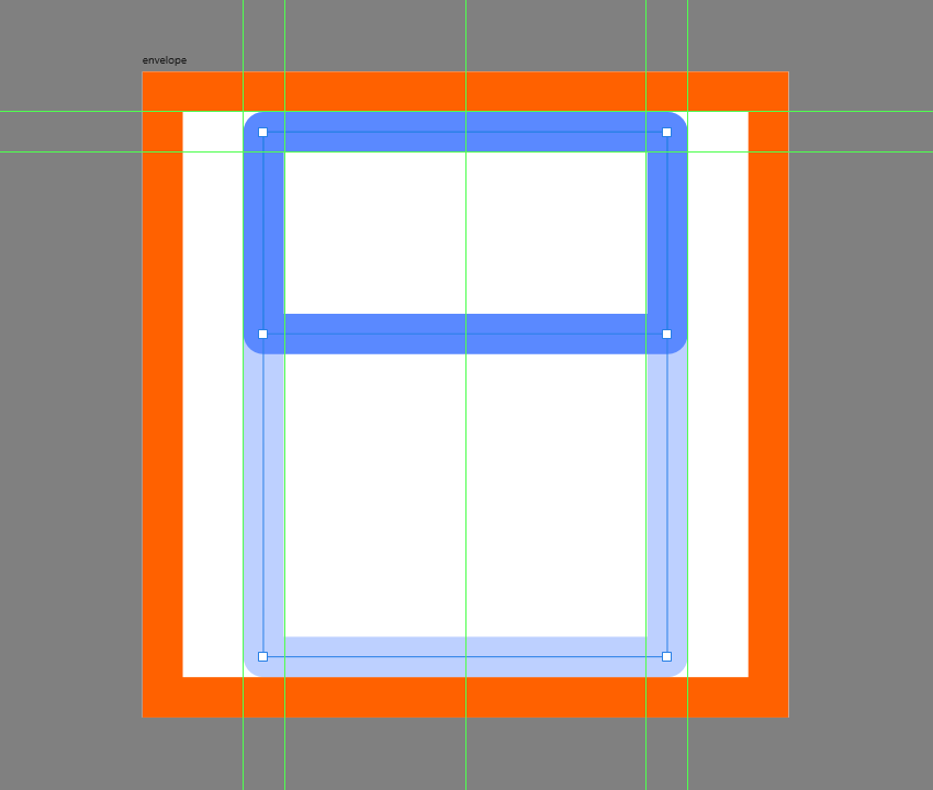 creating the upper section of the envelope