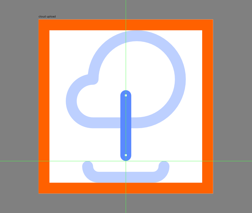 creating and positioning the vertical section of the upload arrow