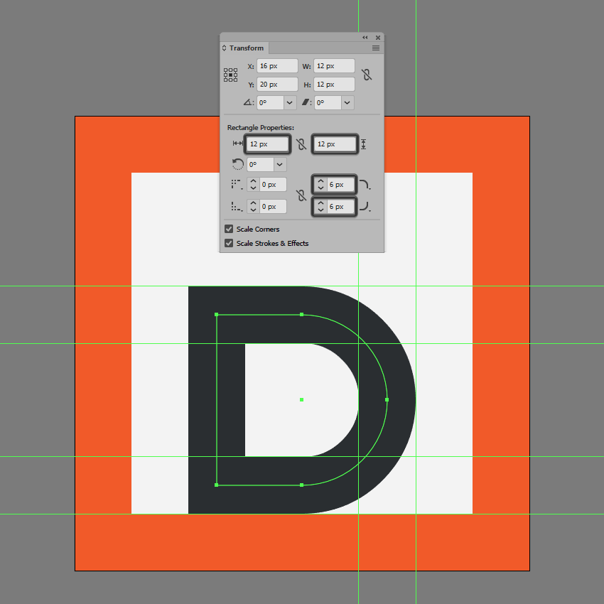 adjusting the lower section of the bold icon