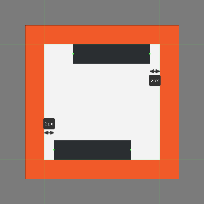 creating the bottom and upper sections of the italic icon