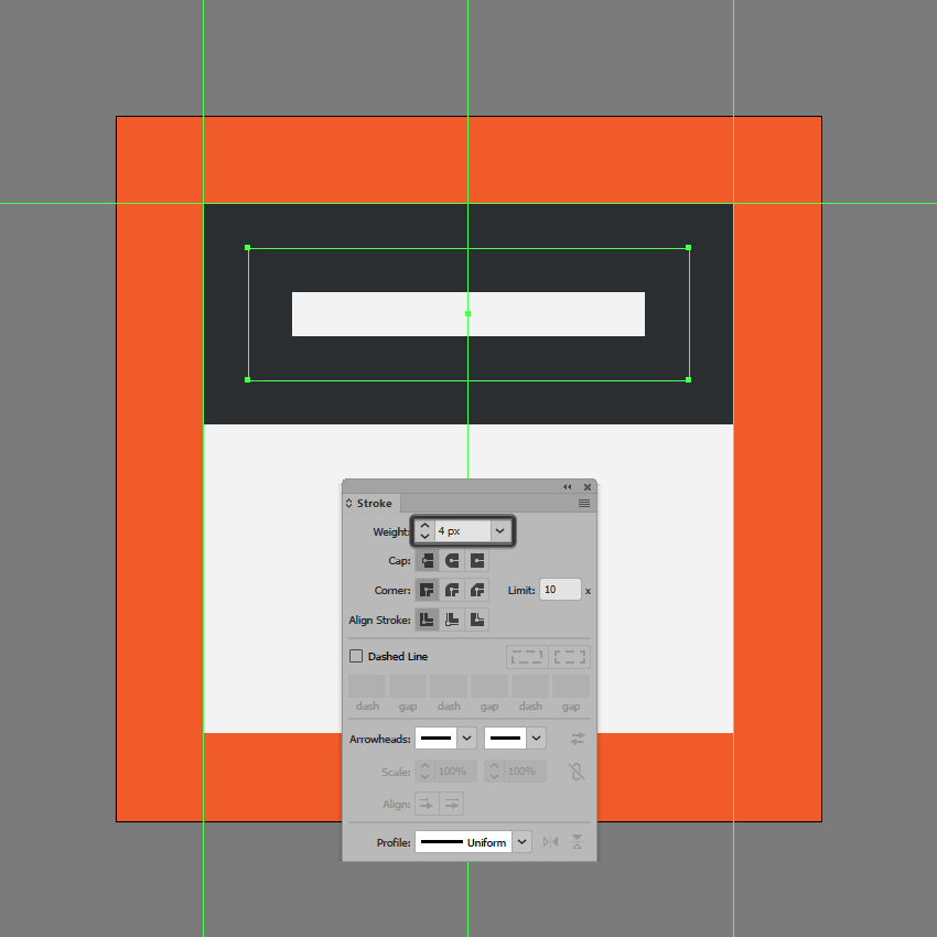 creating the upper section of the insert header icon