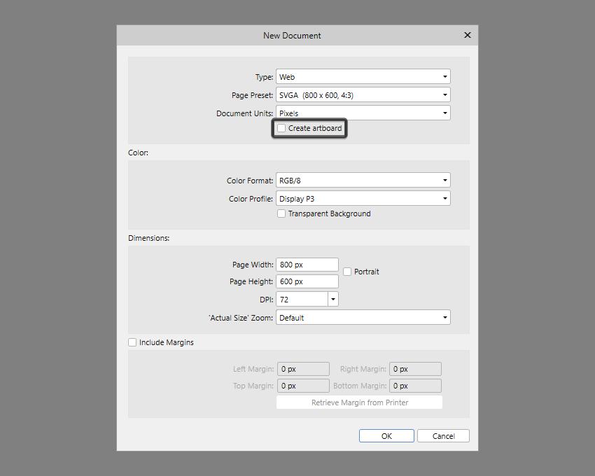 affinity designer new document setup