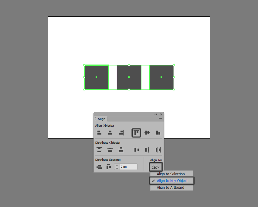 example of aligning multiple shapes to a key object in illustrator