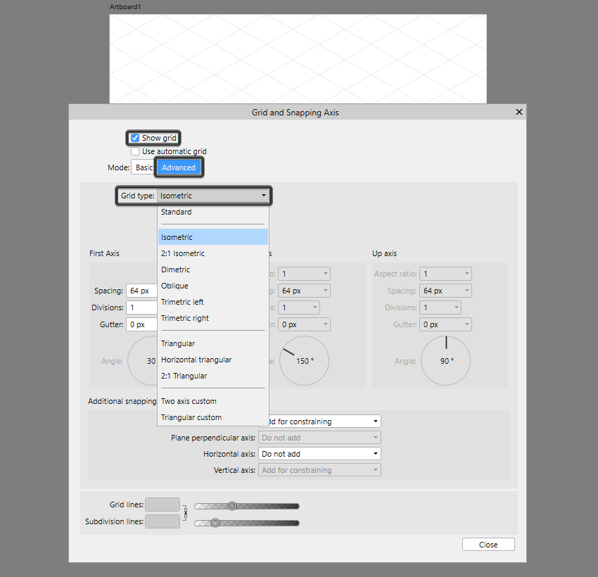 example of available grids in affinity designer