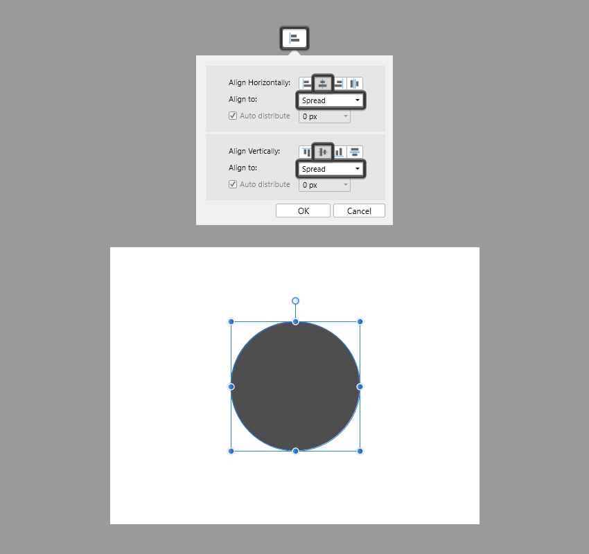 example of center aligning a shape in affinity designer