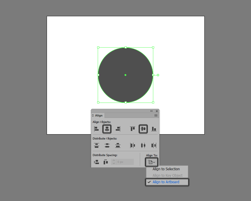 example of center aligning a shape in illustrator using the align panel