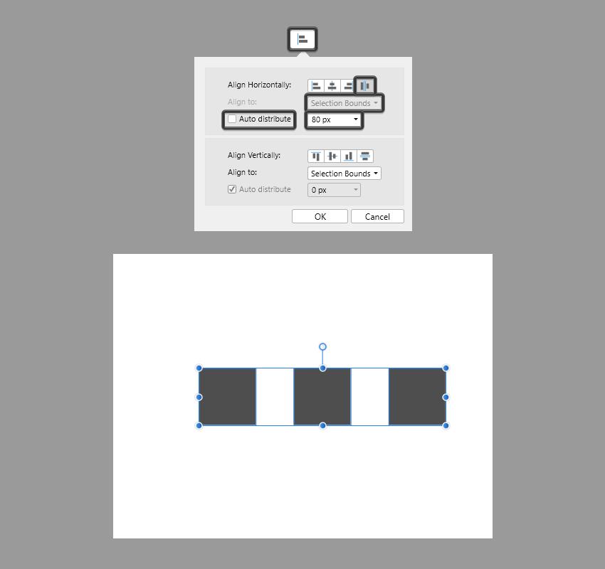distributing multiple shapes in affinity designer