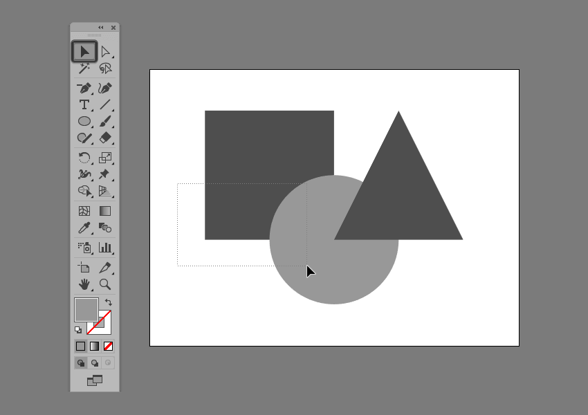 example of multiple shape selection using the click-and-drag method in illustrator