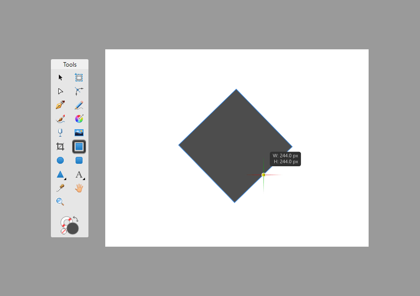 example of rotating a square while creating it in affinity designer