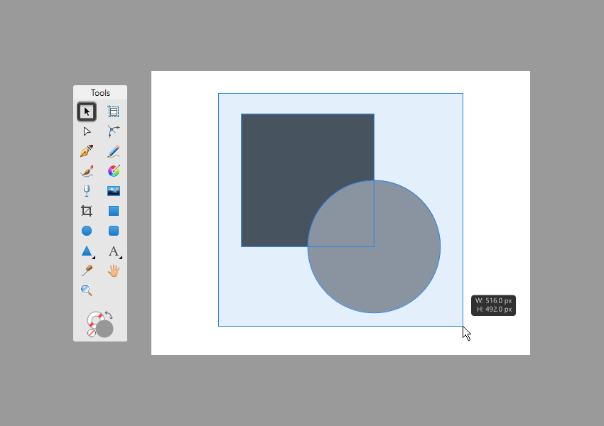 example of multiple shape selection using the click-and-drag method in affinity