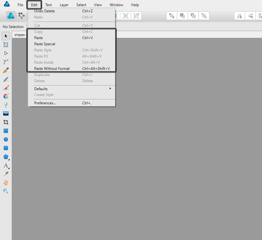 pasting shortcuts in affinity designer