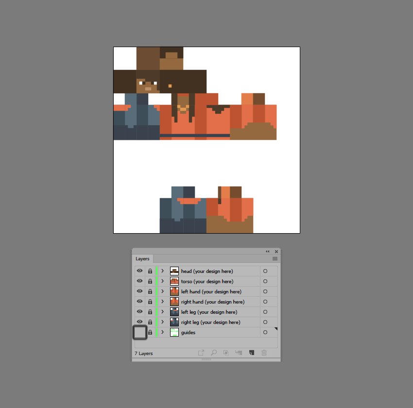example of hiding the guides layer
