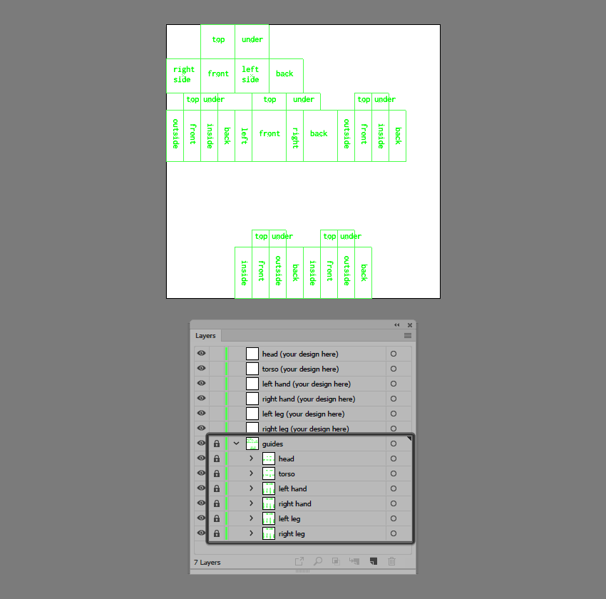 expanded preview of the guides layer