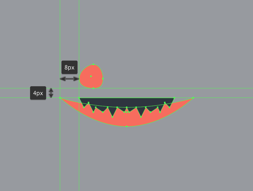 creating the main shape for the right eye