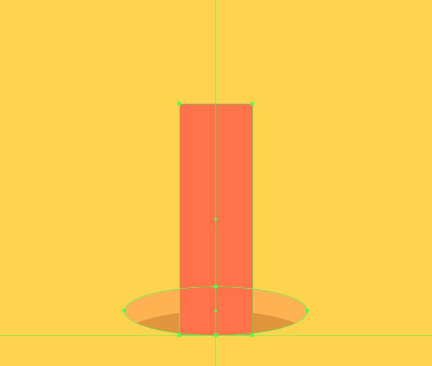 creating the main shape for the upward-facing pencil