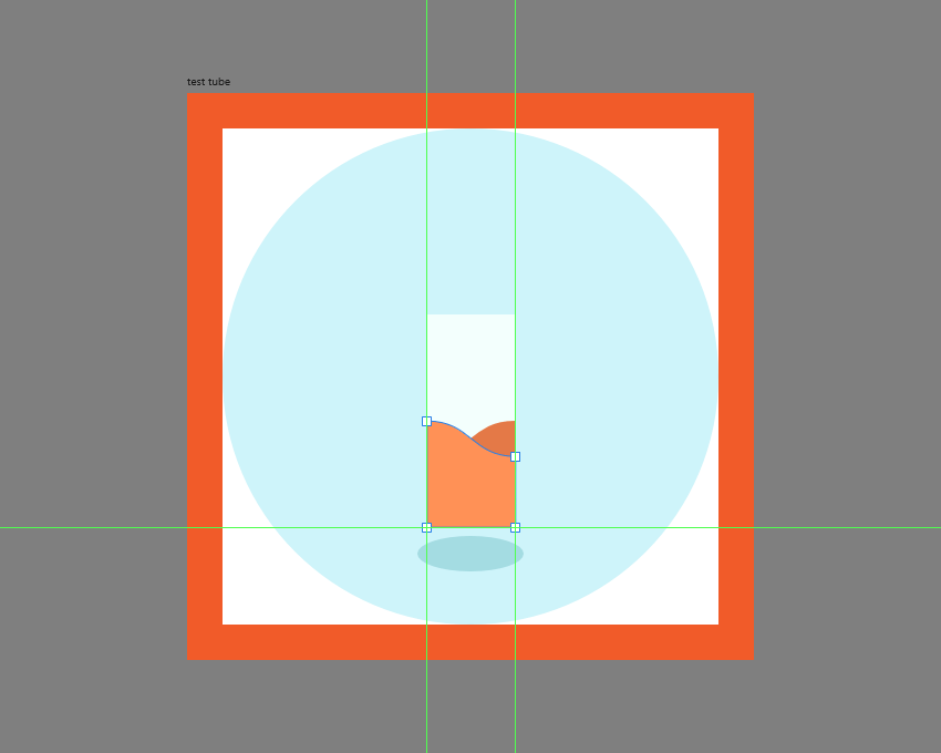 adding the lighter liquid section to the test tube icon