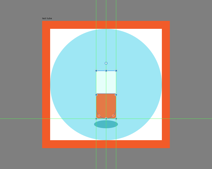 creating the darker liquid section for the test tube icon