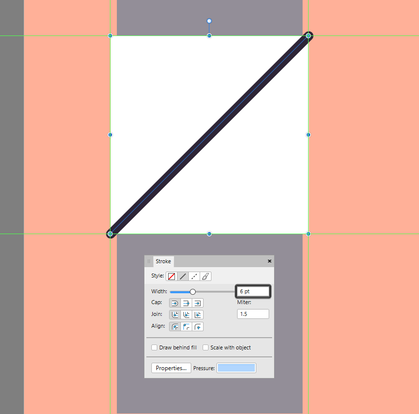 creating the center diagonal line for the decorative square