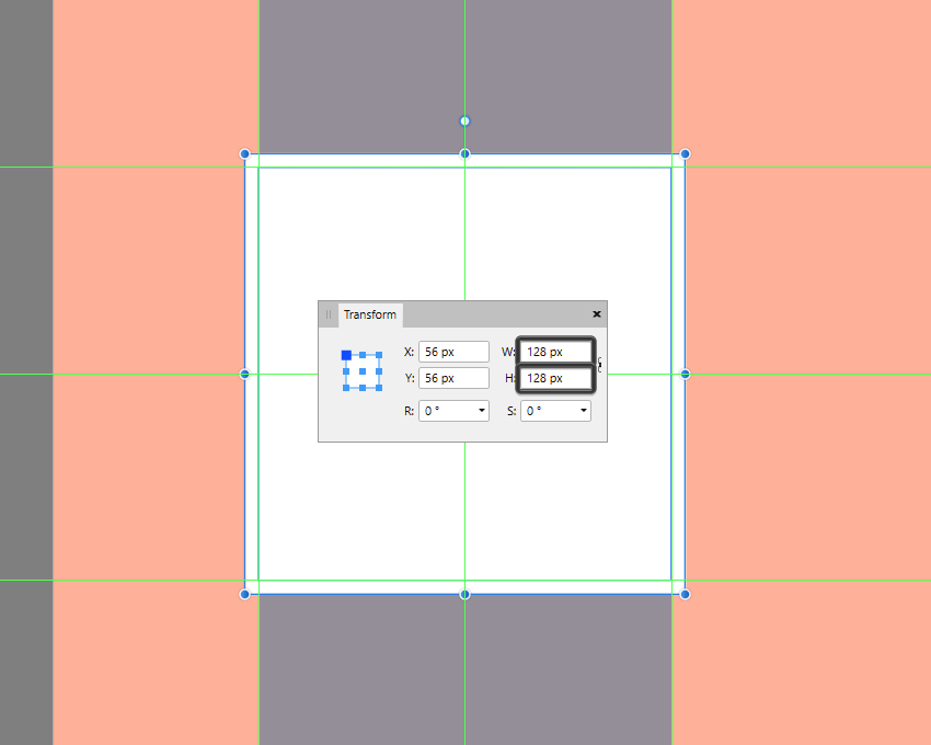 creating the larger reference surface for the decorative square