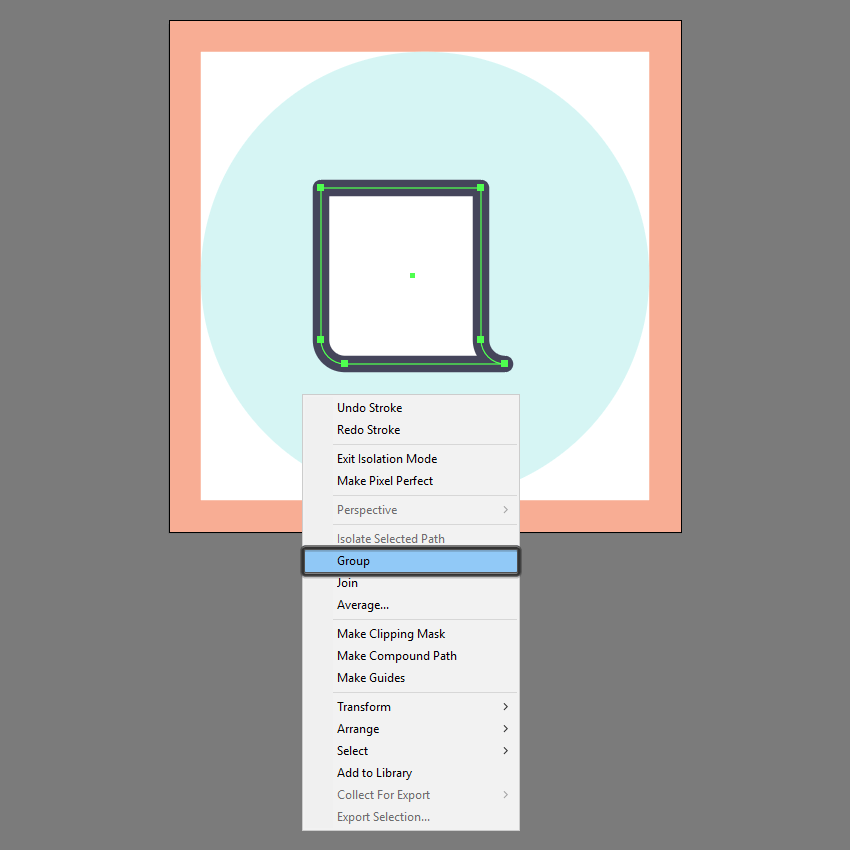 grouping the main shapes of the front section in ai