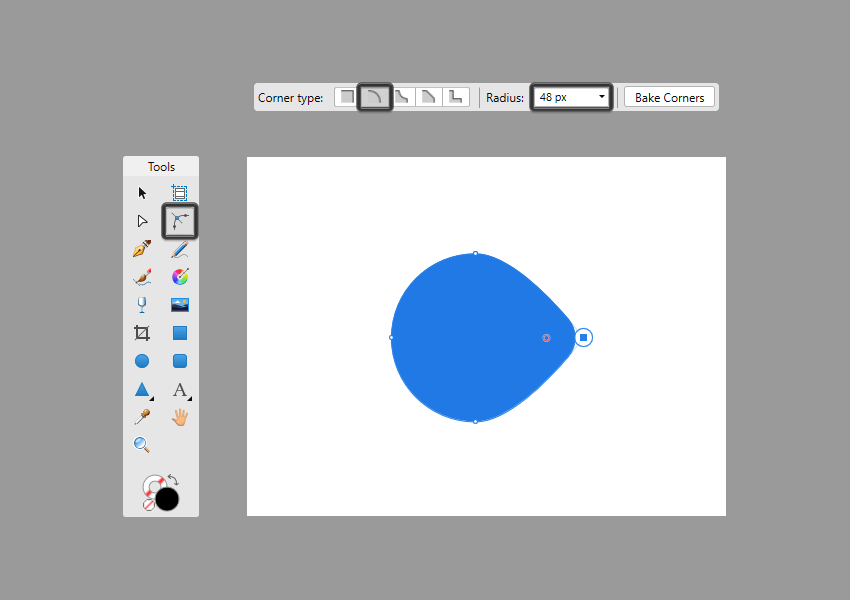 adjusting a shape using the radius input box