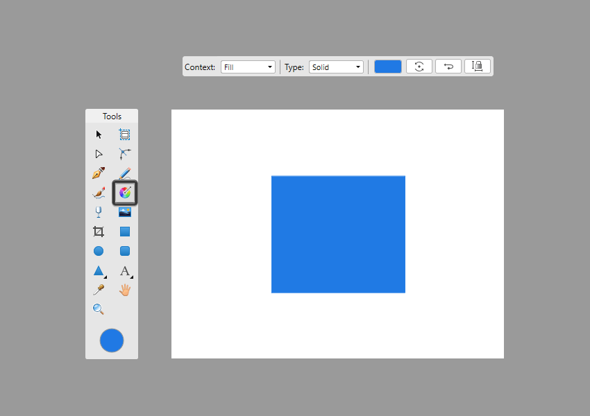 example of fill tool context toolbar