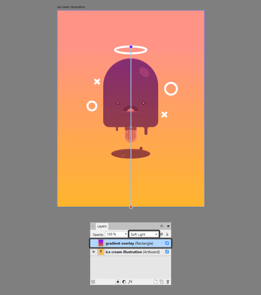 example of using blend modes to enhance an illustration