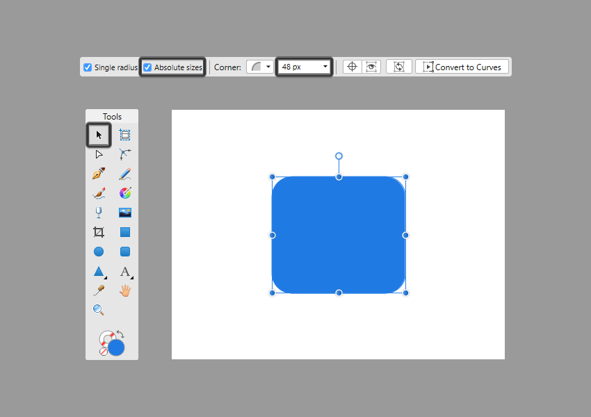 using absolute sizes for the corners of a rectangle