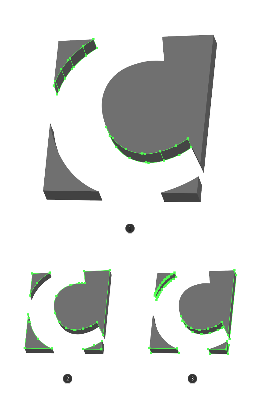 making the shape adjustments for the letter c