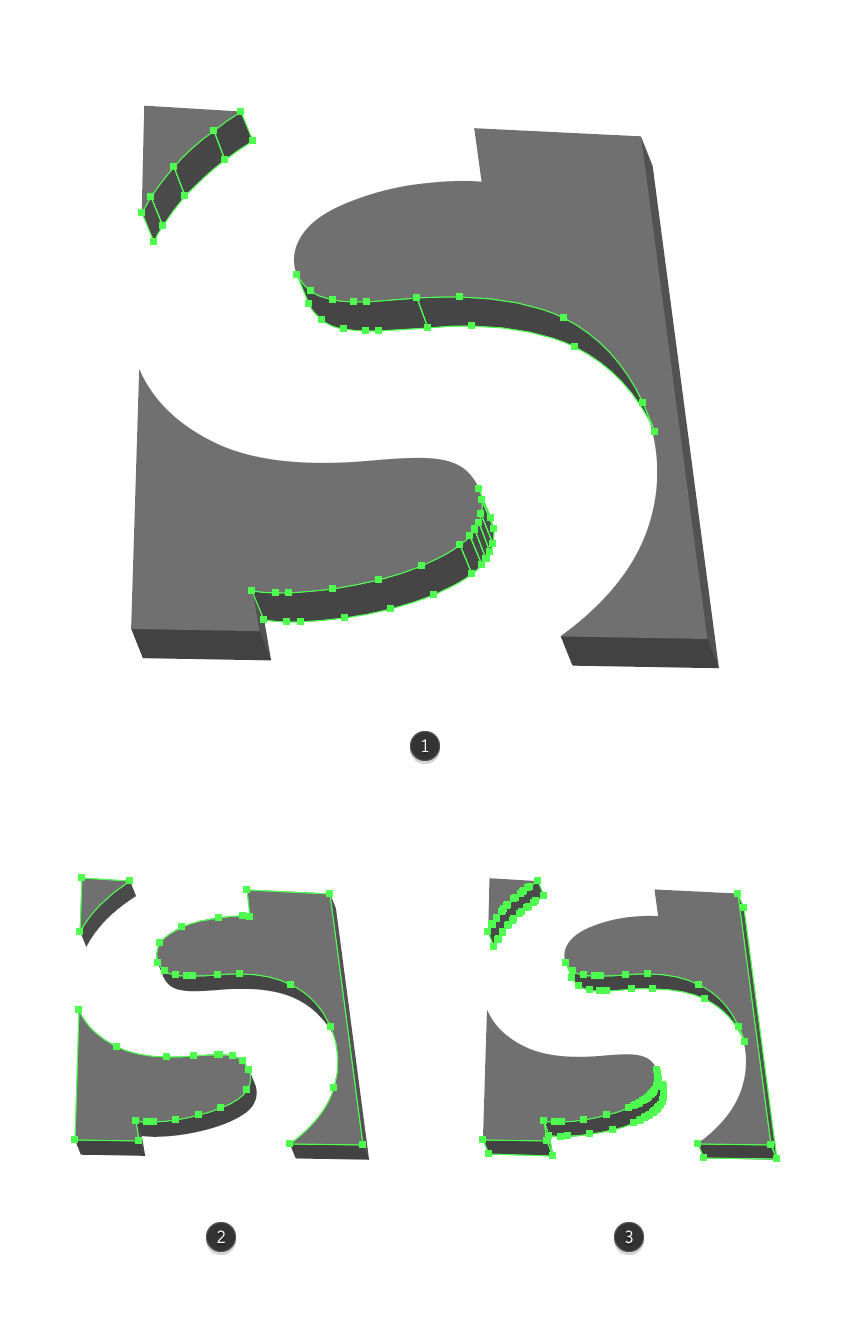 making the shape adjustments for the letter s