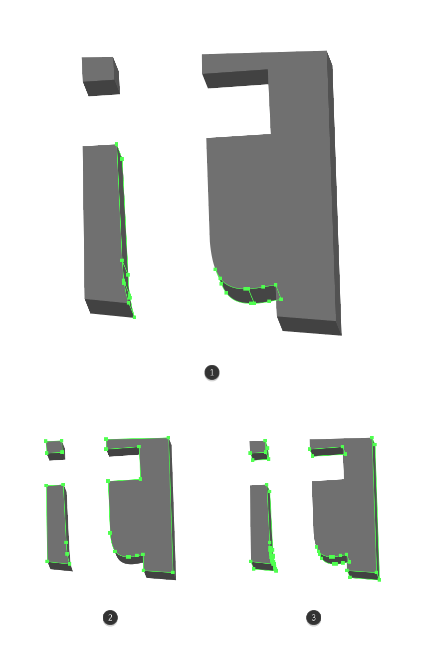 making the shape adjustments for the letter t