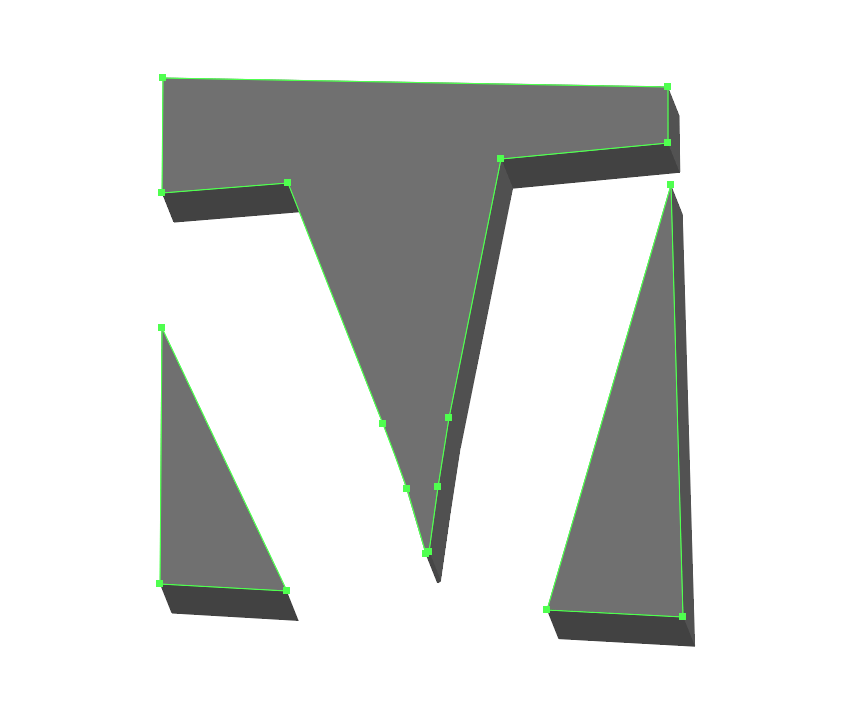 grouping the lighter shapes of the first letter