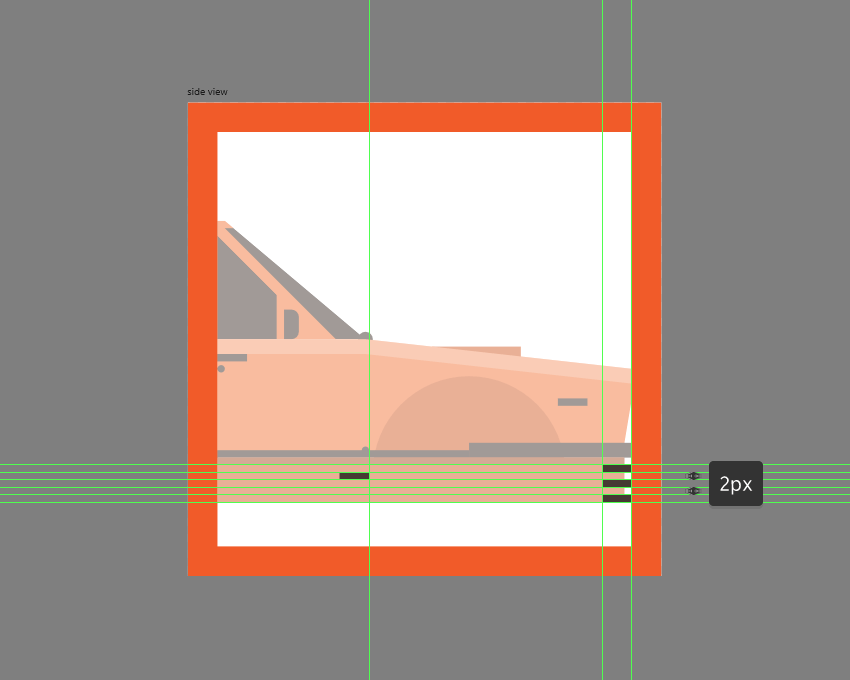 adding the rectangular details to the side of the car