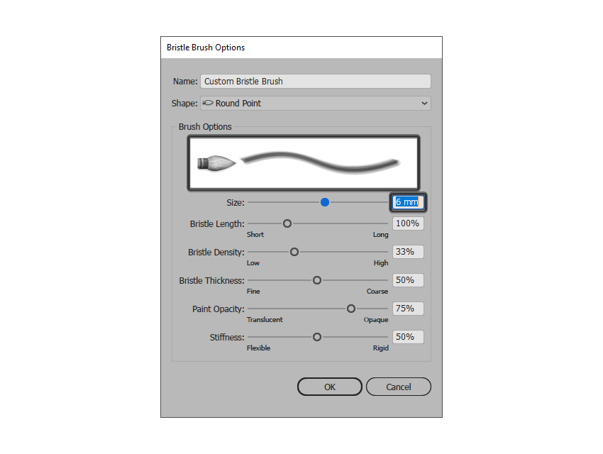 adjusting the size of the bristle brush