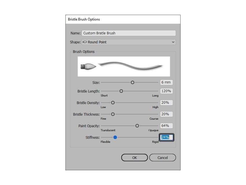 adjusting the stiffness of the bristle brush