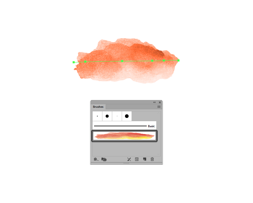 example of using the traced watercolor brush