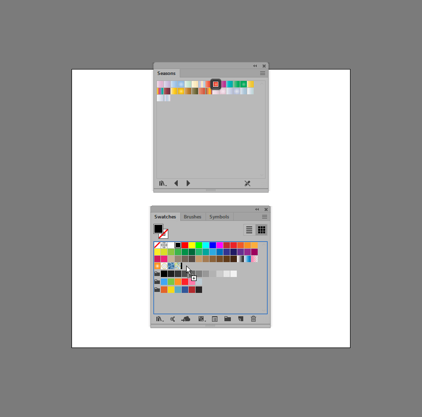 example of adding an individual swatch from the library