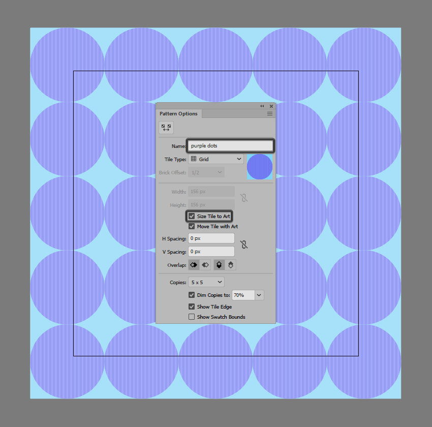 example of adjusting a pattern swatch created using the click-and-drag method