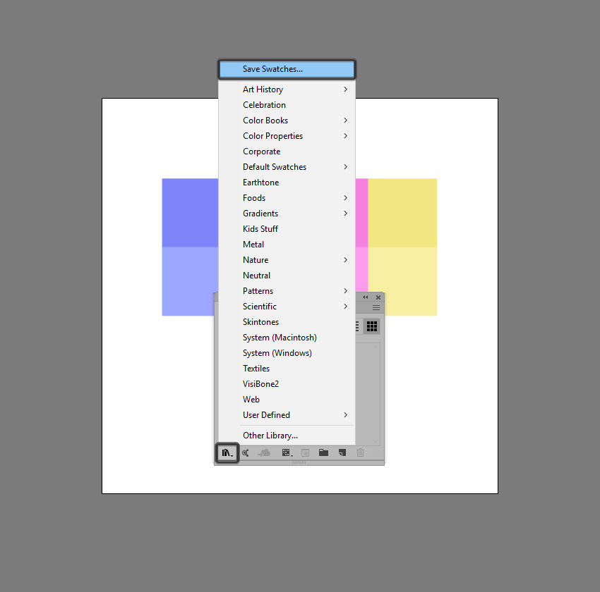 example of saving a custom swatch library