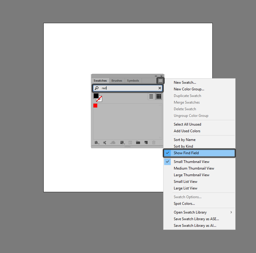 example of using the show find field