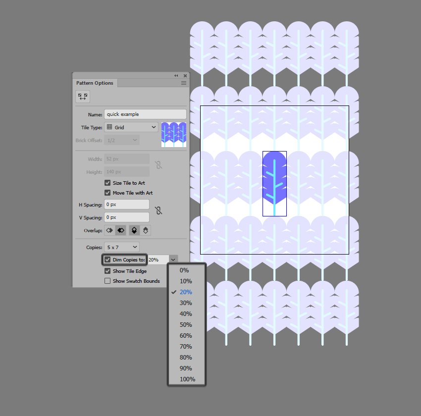 example of adjusting the opacity settings