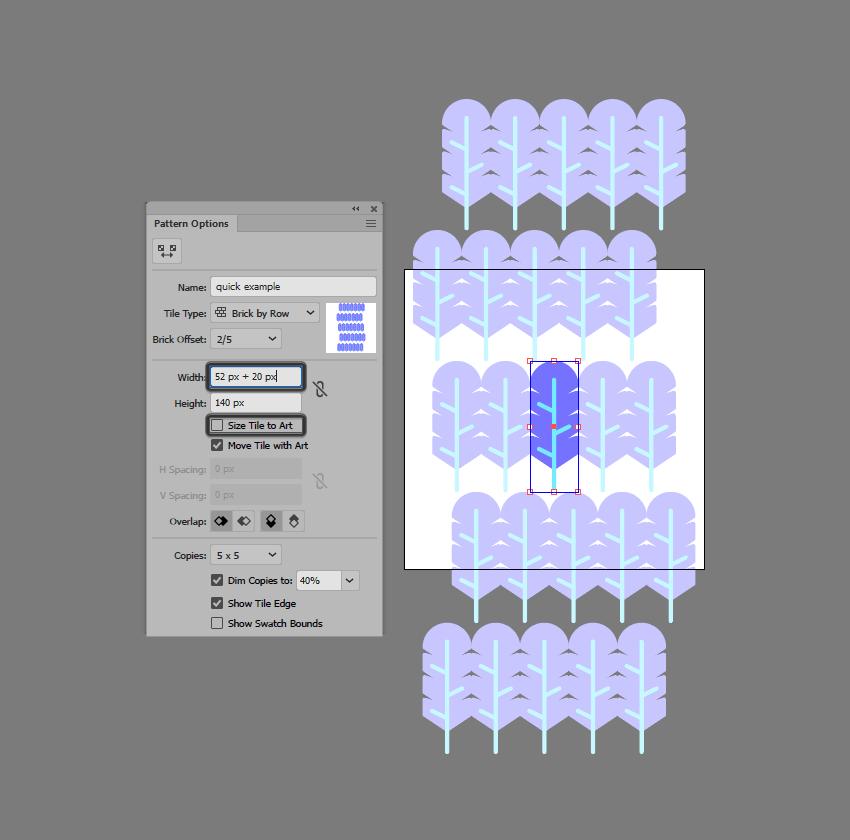 adjusting the tile spacing using the tile width method