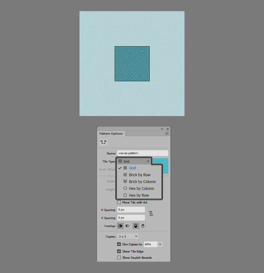 example of choosing the tile type