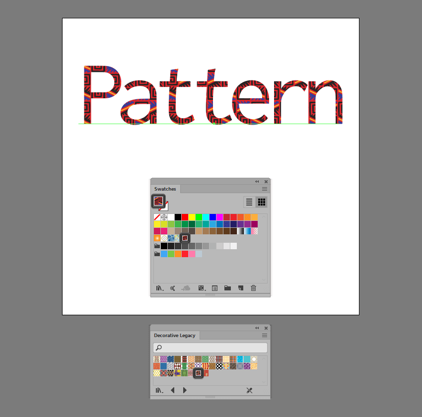 example of using a pattern on a text