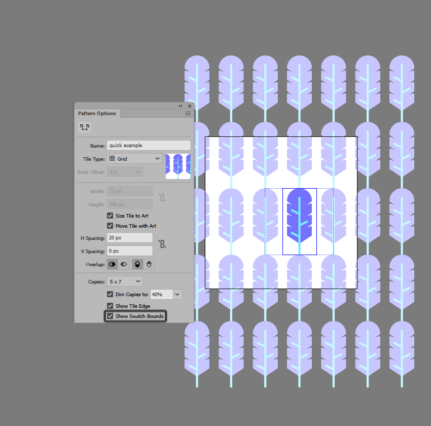 example of using the show swatch bounds option