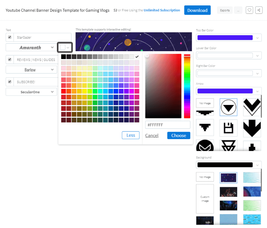 example of changing the default color