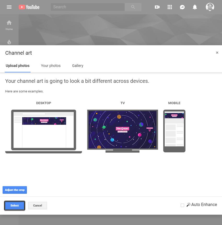 uploading the custom banner design to youtube